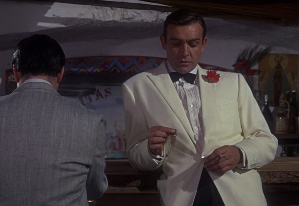 Bond's first ivory dinner jacket in Goldfinger
