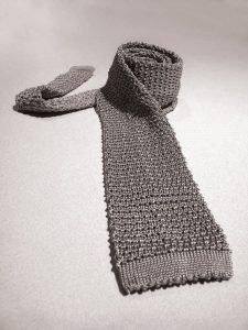 Silver Knit Tie