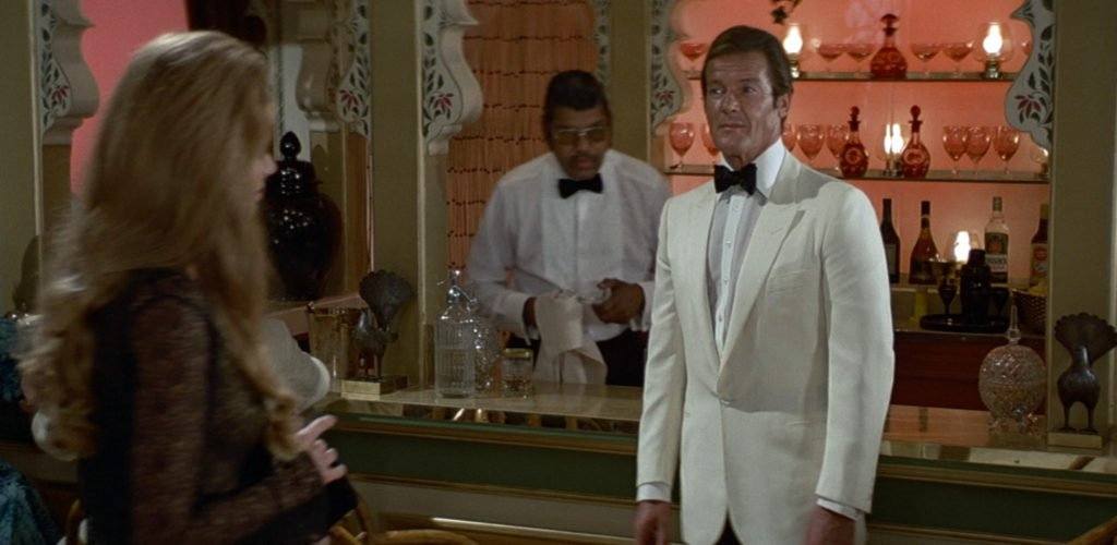 Roger Moore in a bespoke Douglas Hayward dinner jacket in Octopussy