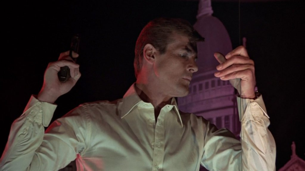Roger Moore wearing a Frank Foster shirt in The Man with the Golden Gun