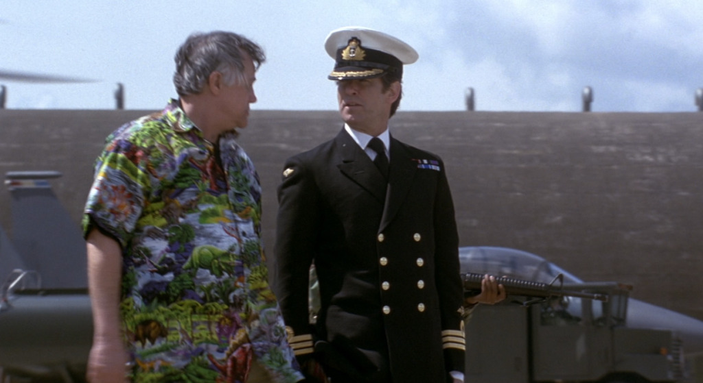 Pierce Brosnan with Joe Don Baker in Tomorrow Never Dies