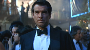 Pierce Brosnan wears a marcella dress shirt with studs in Tomorrow Never Dies
