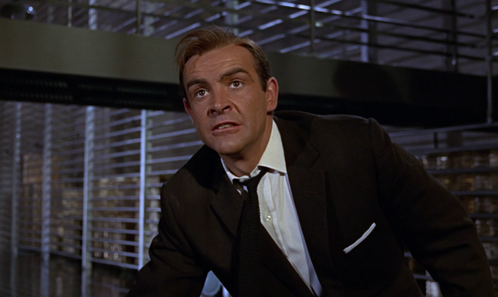 This dark brown suit in Goldfinger has subtle shadow stripes