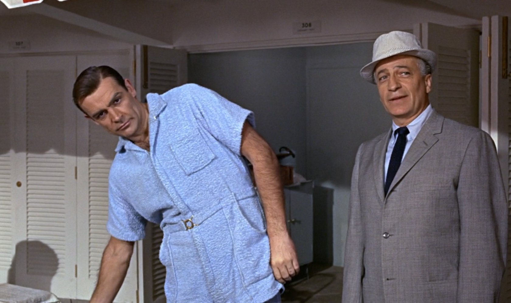 the infamous terrycloth playsuit in goldfinger the suits of james bond. Black Bedroom Furniture Sets. Home Design Ideas