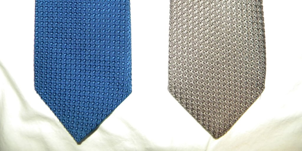 Drakes on the left, using the right side of the silk, and Turnbull & Asser on the right, using the wrong side of the silk