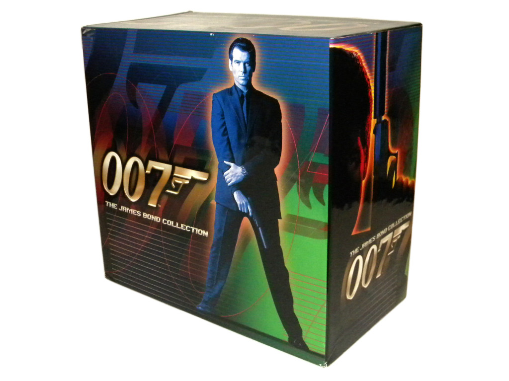 One of my VHS box sets from 1999, released shortly before The World Is Not Enough. It came with GoldenEye, Tomorrow Never Dies and some Connery and Moore films. At the time I got this, I though the all-black look was cool.