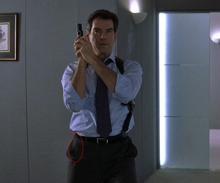 Darts on the front side of Pierce Brosnan's trousers in Die Another Day. Click the image for a closer look.