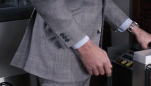 Three buttons on the cuffs of George Lazenby's Glen check suit in On Her Majesty's Secret Service