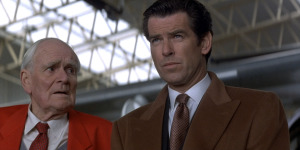 A buttonhole in each lapel on Pierce Brosnan's double-breasted overcoat