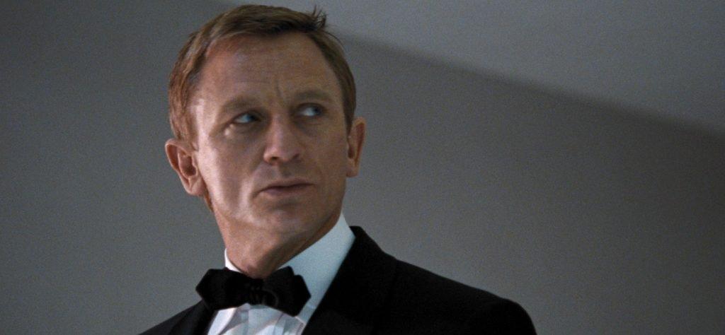 Daniel Craig wears a diamond bow tie in Quantum of Solace