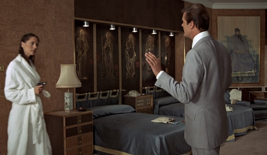 Roger Moore's Cyril Castle suit jacket in The Man with the Golden Gun has deep double vents