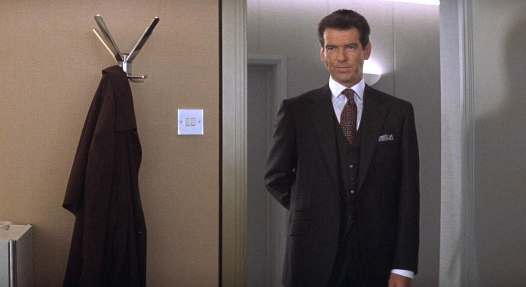 Pierce Brosnan in a Brioni pinstripe suit in The World Is Not Enough