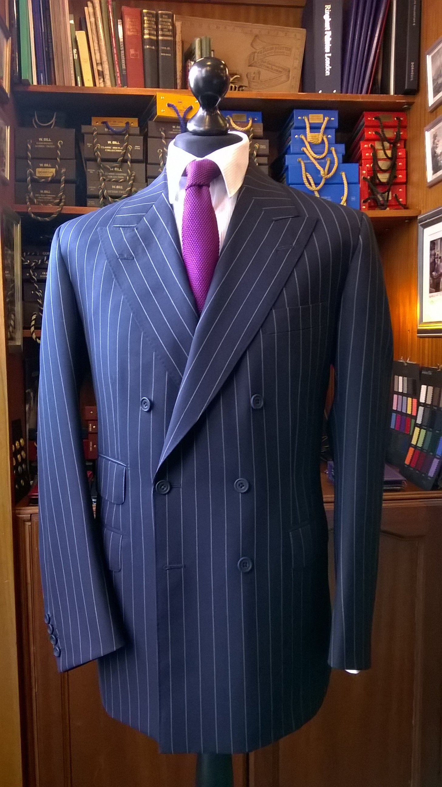 A recent navy chalkstripe double-breasted suit made by D. Major Bespoke Tailors