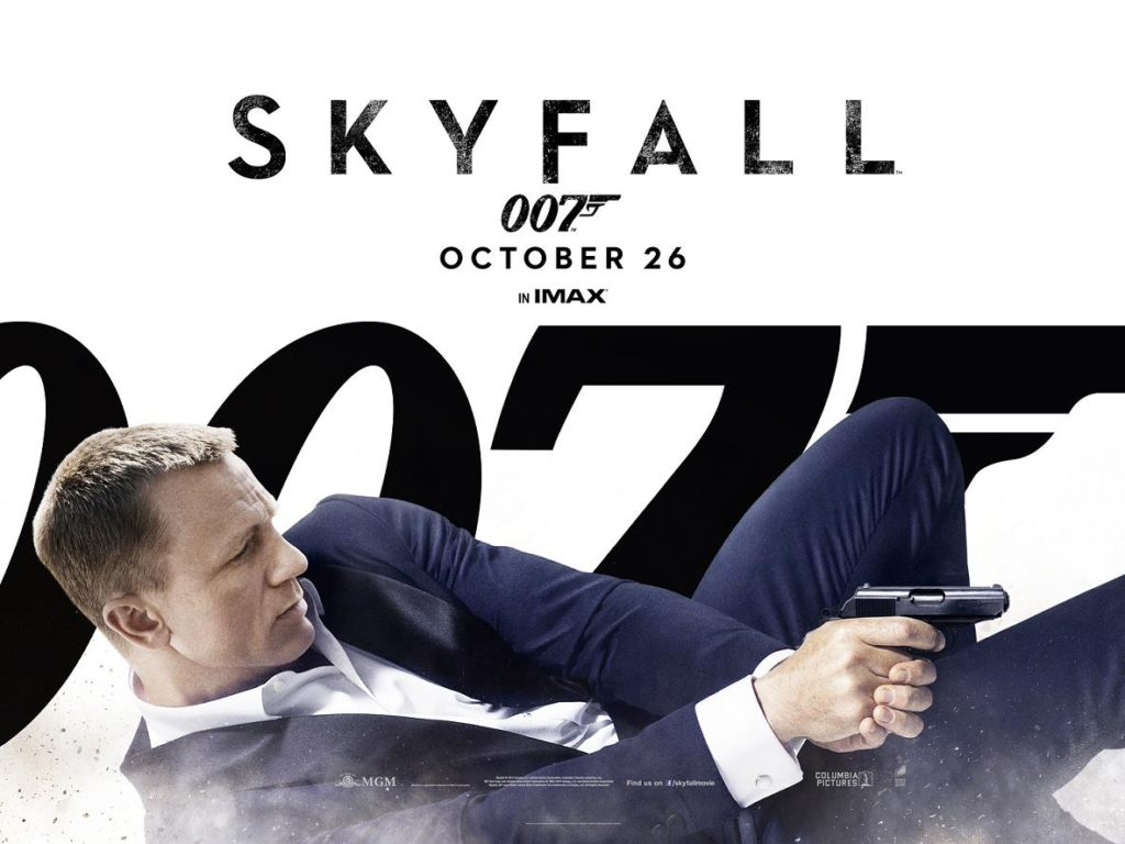 A poster for Skyfall with Daniel Craig in a colour-enhanced dinner suit