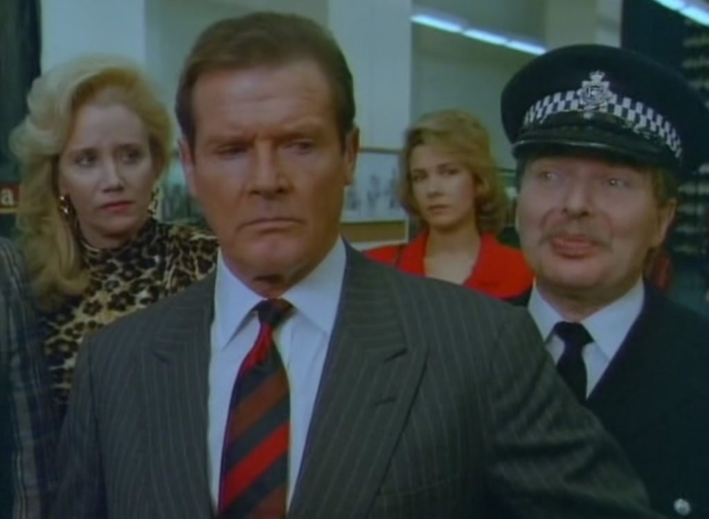 Roger Moore with Sally Kirkland, Deborah Moore and Derren Nesbitt