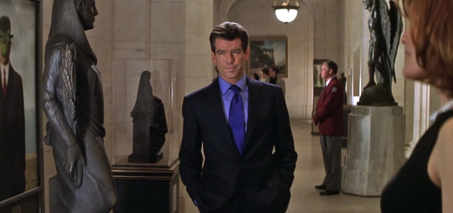 the thomas crown affair date night in a midnight blue suit the