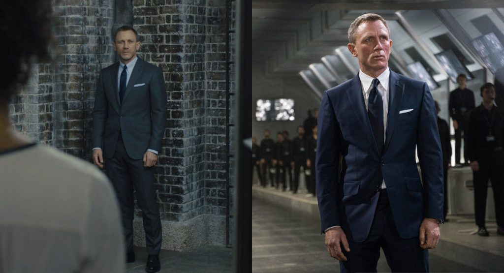 The Tom Ford O'Connor jacket in Skyfall, left, and in Spectre, right