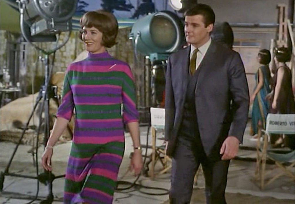 """Roger Moore in """"Simon and Delilah"""", with Lois Maxwell who plays Miss Moneypenny in the first 14 Bond films"""