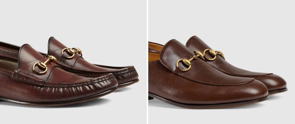 0dbaf199f Two Gucci bit loafers: a moccasin toe on the left and an apron toe on the  right.